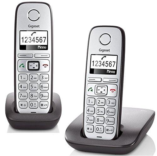 Gigaset E310 Duo Telefon - Schnurlostelefon/2 Mobilteile - Grafik Display - Grosse Tasten Telefon - Freisprechfunktion - Analog Telefon - Anthrazit/Silber