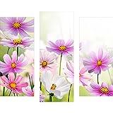 gsmarkt | Dreiteiliges Wandbild - 3 Teilig - Acrylglasbilder Acryl Glasbild 90x80 cm Blume Violett - Wandbilder Wohnzimmer Esszimmer Deko Wanddeko