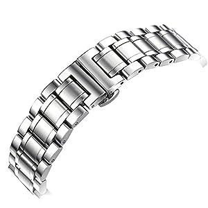 YISUYA sólido de 20mm para hombre Plata Banda De Acero Inoxidable 2.0cm de ancho reloj de pulsera banda correa botón oculto mariposa cierre Regalos para reloj marca YISUYA