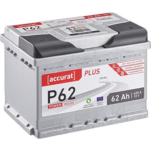 Accurat Autobatterie Starterbatterie P62 Plus 62Ah 12V 620A-Kaltstartstrom Blei-Säure Ca-Technologie Nassbatterie für PKW/Transporter wartungsfrei