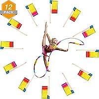 Gejoy 12 Piezas 4 Metros Cintas de Danza Cinta Serpentina Rítmica de Gimnasia con Varillas de Madera para Niños y Adultos