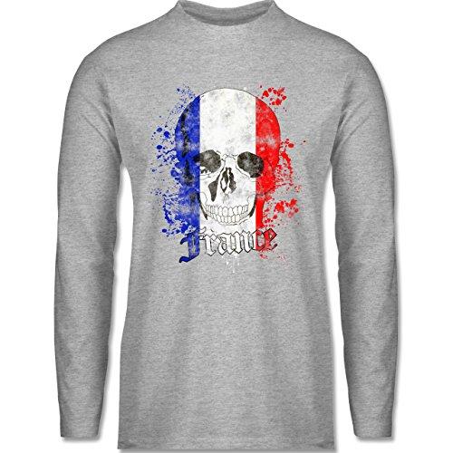 Shirtracer Fußball-WM 2018 - Russland - France Schädel Vintage - Herren Langarmshirt Grau Meliert