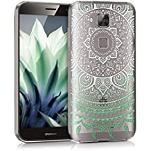 kwmobile Funda para Huawei G8 / GX8 - Case para móvil en TPU silicona - Cover trasero Diseño sol indio en menta blanco transparente