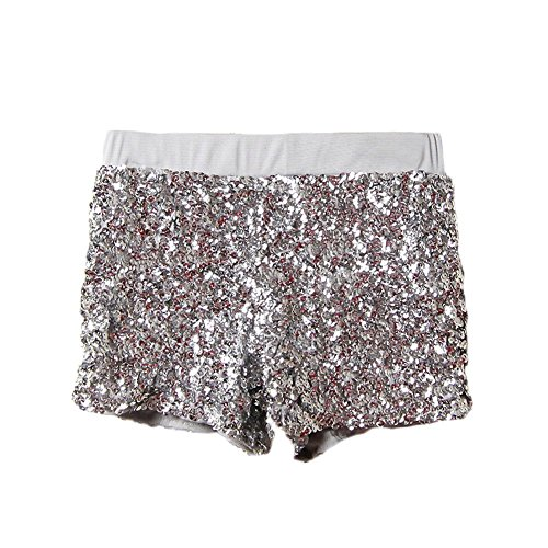 Babyicon Womens Sexy Sequins Shorts Hosen Tanz Hip-Hop Jazz Sänger Clubwear (Silber)