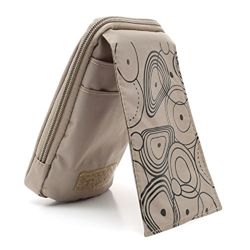 "DFV mobile - Multi-functional Vertical Stripes Pouch Bag Case Zipper Closing Carabiner for =>      APPLE iPhone 6s / [4,7""] > Black (16 x 9.5 cm) BEIGE (16 x 9.5 cm)"