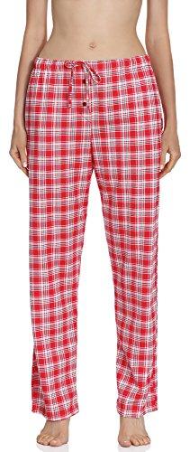 Cornette Damen Schlafanzug Nachtwäsche Pyjama Pajamashose CR-690 (Rot/Ecru (583005), S) (Kind Hose Nachtwäsche Komfortable)