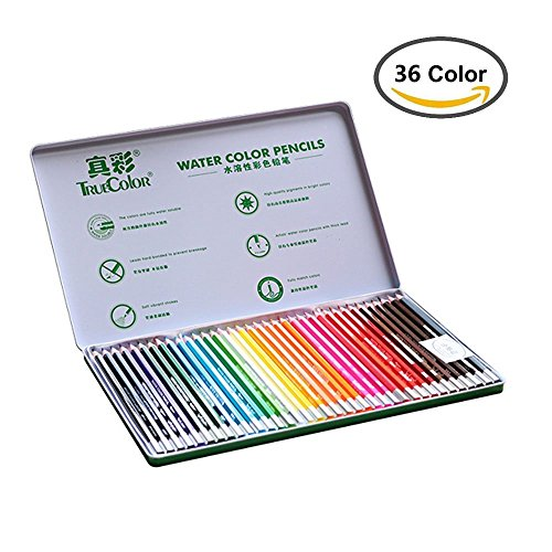 Feelily Aquarell Bleistift, Truecolor 36 Farbe Wasserlösliche Coloring Drawing Pencils für Kinder / Anfänger / Künstler, mit Green Metal Tin Unterstützte (36 color)