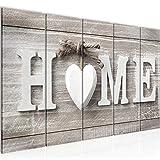Bilder Home Herz Wandbild 150 x 60 cm Vlies - Leinwand Bild XXL Format Wandbilder Wohnzimmer Wohnung Deko Kunstdrucke Braun 5 Teilig - MADE IN GERMANY - Fertig zum Aufhängen 504456a