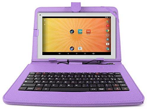 """Etui aspect cuir violet + clavier intégré AZERTY pour Artizlee Tablette Tactile 3G ATL-21 10,1"""" 16Go et ATL-26 9,6"""" 16Go avec stylet tactile BONUS - Garantie 2 ans"""