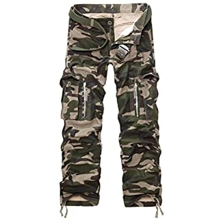 AYG Herren Cargo Hose Camouflage Trousers(army camo,34)