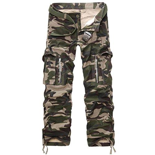 AYG Hombre Pantalon Cargo Pants Camuflaje Pantalones(army camo,34)