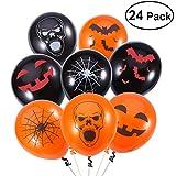 Unomor Halloween Deko Latex Luftballone fur Party Dekoration 24 Gemischt - 4 Halloween Designs mit Orange-, Schwarzfarbigen Luftballonen - Handpumpe im Lieferumfang