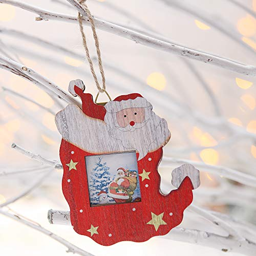 (QZHE Weihnachtsschmuck Für Weihnachten Holz Weihnachten Strümpfe Anhänger Farbe Bilderrahmen Kreative Ornamente Anhänger Dekoration Geeignet Für Weihnachten Urlaub Party Dekoration, C)