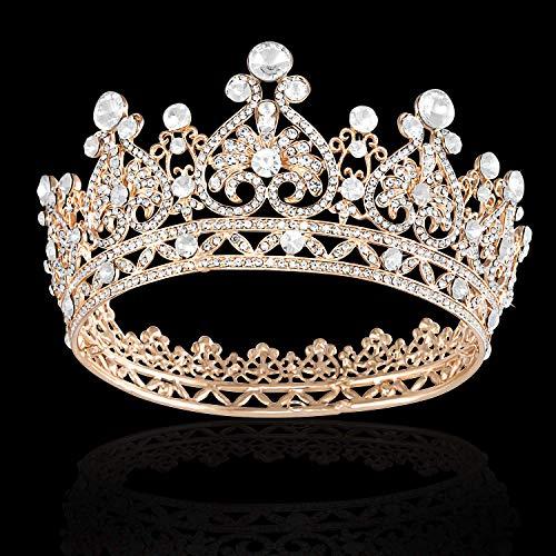Shelley Commerce Brautschmuck Vintage Barock Tiara Festzug Krone Prinzessin Königin Krone Strass Stirnband für Braut und Brautjungfer Hochzeit Party