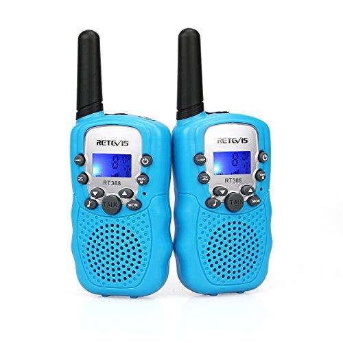 Foto de Retevis RT388 Walkie Talkies Niños PMR446 8 Canales LCD Pantalla Función VOX 10 Tonos de llamada Bloqueo de Canal Linterna Incorporado (Azul, 1 Par)