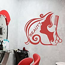 "Sexy chica peluquería adhesivo para pared pared adhesivo vinilo decoración belleza barbería Art, vinilo, rojo (Tomato), 51""hx58""w"