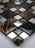 1 Matte Glasmosaik Mosaikfliesen Glas Edelstahl Braun Schwarz Glitzereffek 30x30