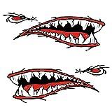Kongqiabona Kongqiabona Haifischzähne Mund Aufkleber 2pcs / Set Moderne Wasserdichte Haifischzähne Mund PVC Aufkleber Aufkleber für Fischerei Ozean Boot Kanu Beiboot Zubehör
