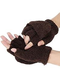 3eba8a65a079a5 Halbfinger Handschuhe Fingerlose Fäustlinge Warm Strickhandschuhe  Fingerhandschuhe mit Flip Top Damen Mädchen
