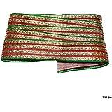 1 Yarda Verde Rojo De La Tela Bordada De Oro Diseño Franja Roja Sari Sari Frontera Verde Recortar Recortar Tejidos Por Yard