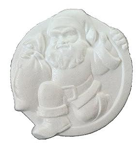 Italveneta Didattica 9158-Juego 3Papá Noel Navidad de poliestireno sobre Disco, diámetro 240mm, Blanco