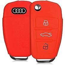kwmobile Funda de silicona para llave plegable de 3 botones para coche - cover de llave - key case en rojo