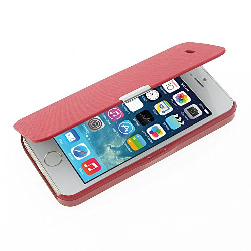 MTRONX für iPhone SE Hülle, iPhone 5 Hülle, iPhone 5s Hülle, Magnetisch Dünn Leder Folio Flip Klapphülle Etui Schutzhülle Tasche Case Cover für Apple iPhone SE, iPhone 5s iPhone 5 - Rot(MG-RD)