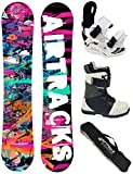 AIRTRACKS Damen Snowboard Set / Graffiti Lady Rocker 144 + Snowboard Bindung Star W + Snowboardboots Star W 38 + Sb Bag