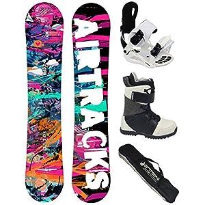 Airtracks Damen Snowboard Komplett Set – Graffiti Lady Snowboard Rocker + Snowboard Bindung Master W FASTEC TM + Snowboardboots + Sb Bag / 144 148 151 cm