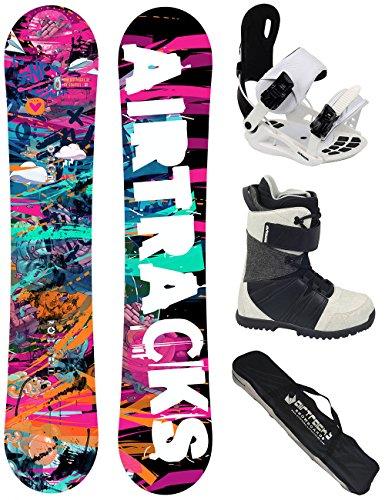 AIRTRACKS Damen Snowboard Set / Graffiti Lady Rocker 144 + Snowboard Bindung Star W + Snowboardboots Star W 37 + Sb Bag