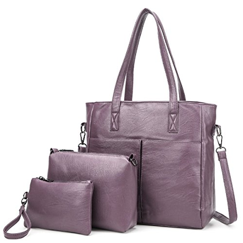 Mode Öl Streifen Muster Sub-Paket Dreiteilig Damen Handtaschen Umhängetasche Clutch Bag Pink
