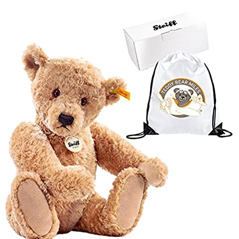Collectable Authentic Steiff Elmar Teddy Bear - 32 cm and Reusable Gift Bag - Adorable Plush Bear - Ladies Women Lady Woman Her - Get Well Soon Present Gift Idea - Suitable From