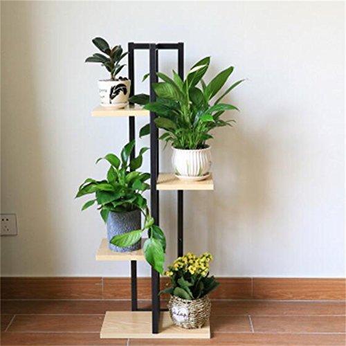 TIAN- Blumenstand Schmiedeeisen-Blumen-Stand-Wohnzimmer-Schlafzimmer-Blumen-Gestelle Fleischiger grüner Palisander-Stahl-Holzboden-Regal-Raum