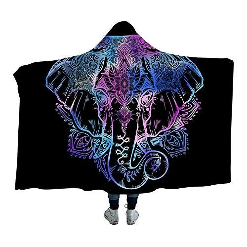 Qinddoo böhmischen Elefanten mit Kapuze Decke für Erwachsene Sherpa Fleece Lotus Blume Tragbare Picknick Bett Decke-150cm * 200 cm (Blumen-bett-decke)