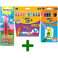 Bic Kids BIC Material Escolar 10 Rotuladores & 12 Lapices de Color & Dispensador PEZ Peppa