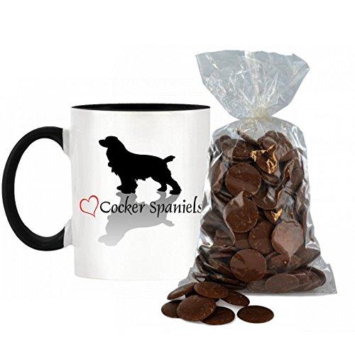 Stilvolle Herz Design Cocker Spaniel bicolor Becher mit schwarzem Griff & Innen inkl. 200g Beutel von Milch Schokolade Tasten. -
