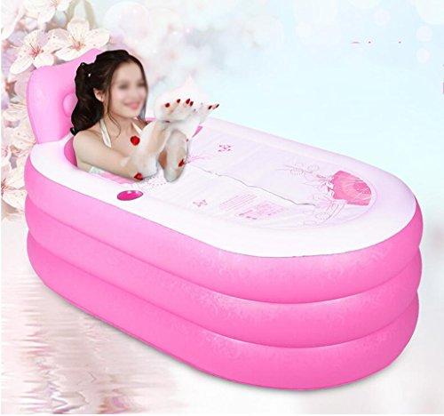 AJZGF Aufblasbare dicke Badewanne für Erwachsene Badewanne ( Farbe : Pink , größe : 130*82cm )