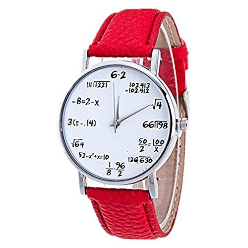 DAY.LIN Uhr Damen Uhren Mode Mädchen Muster Lederband Analog Quarz Vogue Uhren (Rot)