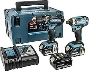 Makita MAKDLX2131JX DLX2131JX1 18V Twin Pack 2PC 3X3AH, 600 W, 18 V, Blue, 1