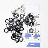 Telliswelt 642371 40 Ösen mit Scheiben 5mm brüniert schwarz inkl. Werkzeug