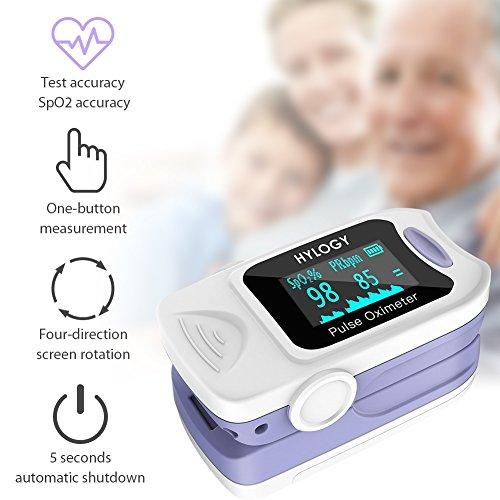 Hylogy Oxímetro de Pulso Oxígeno Digital de Sangre con Cable para Llevar, Aaprobado por la FDA y la CE (Blanco)