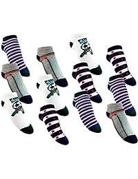 Laake - 12 pares de calcetines para niños, 95% algodón, varios colores ML107-SN Talla 23-38