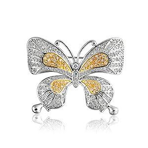 Bling Jewelry Vintage Style Zwei Ton Gelb Weiß Pave Golden CZ Schmetterling Zirkonia Brosche Pin Rhodiniert Vergoldet