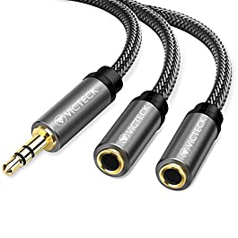 Sdoppiatore Cuffie Jack Splitter Audio, Victeck Aux Sdoppiatore Stereo Maschio 3,5 mm a 2 Femmina splitter Ausiliario…