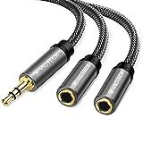Victeck Câble Audio stéréo répartiteur avec Prise Jack 3,5 mm mâle vers 2 Prises Jack 3,5 mm Femelles Longueur 25 cm