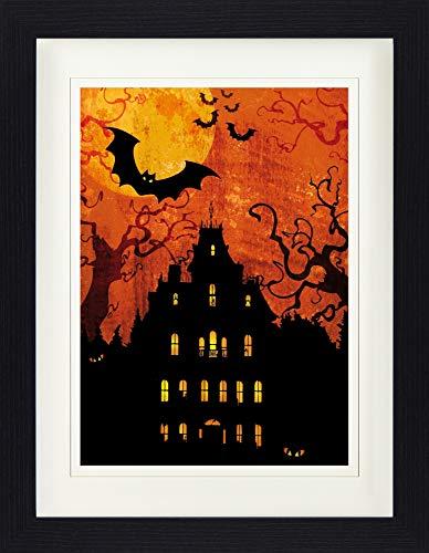1art1 114011 Halloween - Geisterhaus Bei Blutmond Gerahmtes Poster Für Fans Und Sammler 40 x 30 cm