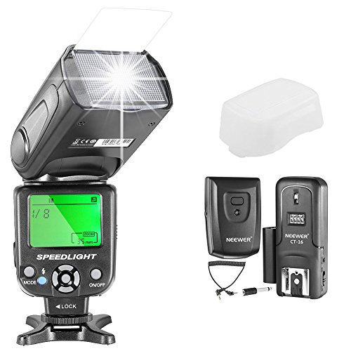 Neewer Kit di Manuale Flash Speedlite NW-561 GN38 con LCD Display per Canon Nikon e Altre Reflex Digitali, Inclusi: Flash NW561, Diffusore Duro, CT-16 Wireless Trigger