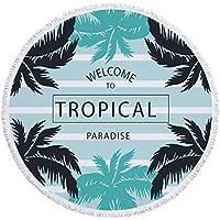 Jiuyizhe - Toalla de Playa Redonda con Flecos de Microfibra para Picnic y Yoga, Color