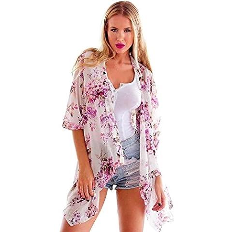 Mingfa.y Women Flower Summer Beach Blouse Floral Print Chiffon Kimono Cardigan Top (M)