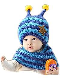 Invierno del bebé Niños Niñas Tejido Gorro y Pañuelos bufanda de Punto  Caliente lana Cofia Capucha 0eff3f48999